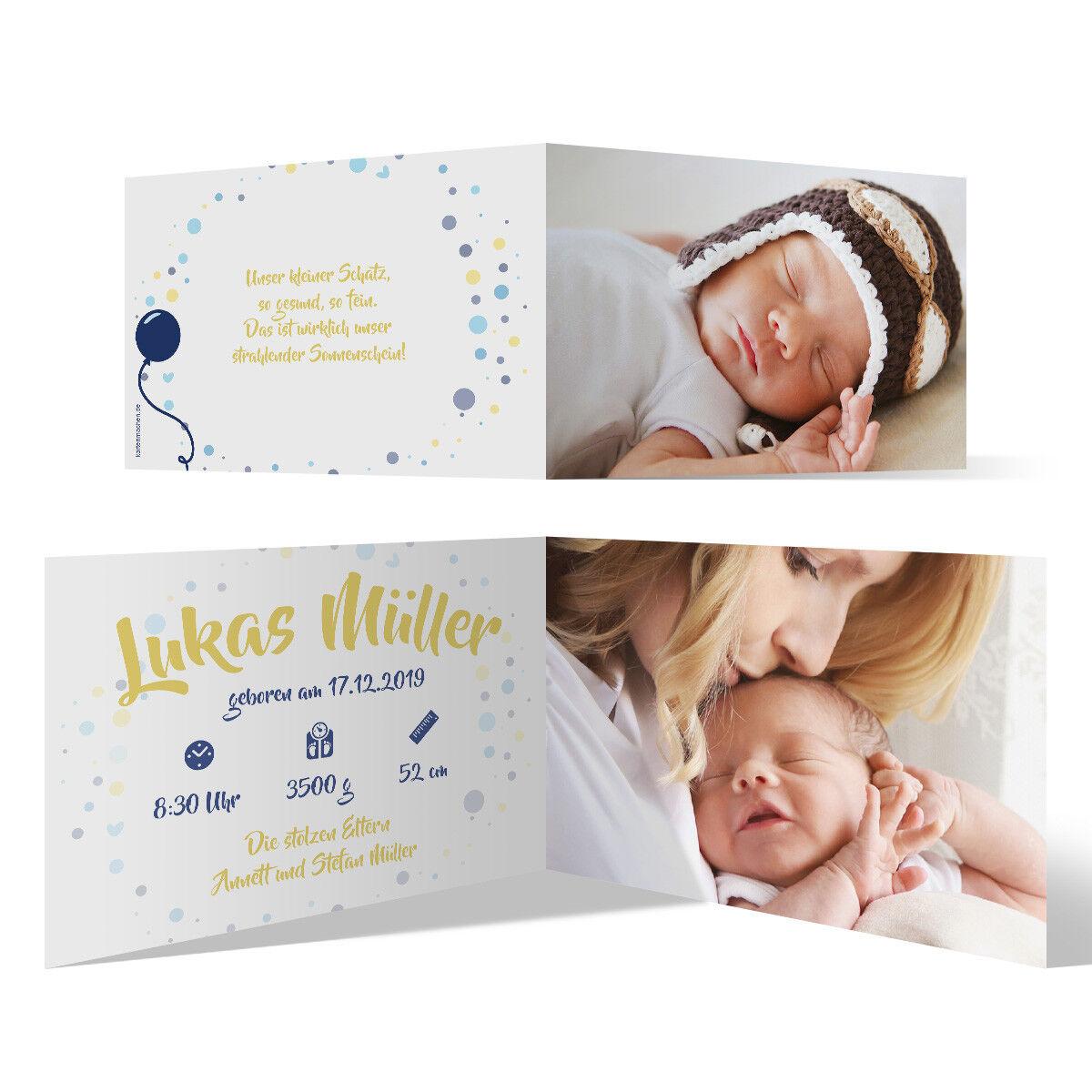 Geburt Danksagungskarten Geburtskarten individuell Fotos Text - Blauer Ballon