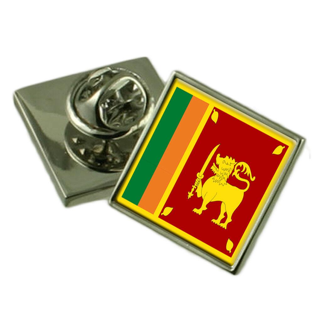 SRI LANKA bavero Pin argentoo Sterling 925 BADGE Incisa Personalizzata Personalizzata Personalizzata Scatola 3e3f07