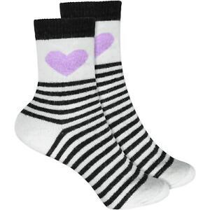 Cosey Dicke Socken – Heart & Stripes Schwarz 33-40 1 Paar Baumwolle Atmungsaktiv