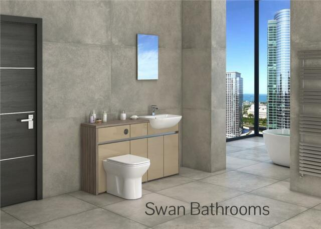 DRIFTWOOD / CAPPUCCINO GLOSS BATHROOM FITTED FURNITURE 1500MM