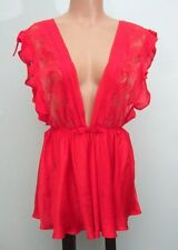 #12 New VICTORIA SECRET Small $198 Red SIlk Designer Collection Babydoll Chemise