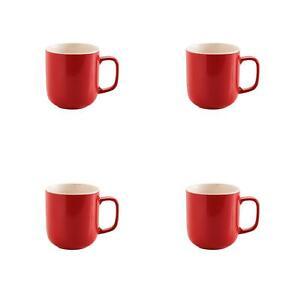 4-X-Large-Rouge-Vif-Brillant-Cafe-The-Etreinte-Baril-Tasse-Pot-Gres-400ML