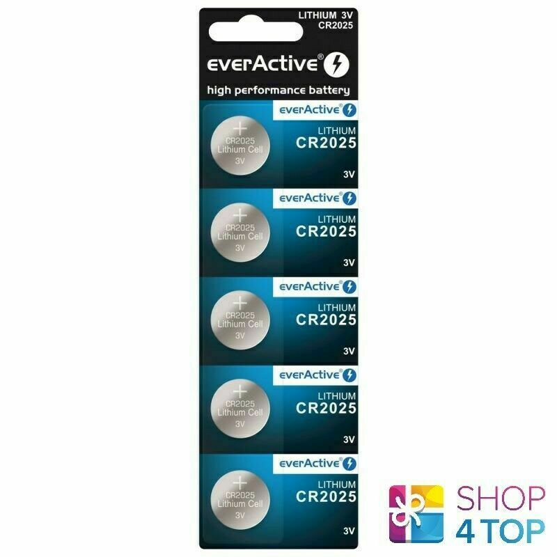 5 EVERACTIVE Lithium Cell CR2025 Batteries DL2025 3V Coin Button Exp 2031 New