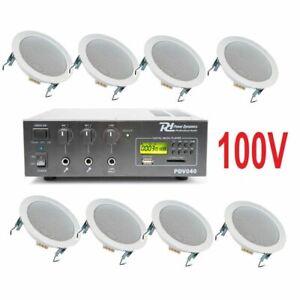 IMPIANTO-AUDIO-ATTIVO-FILODIFFUSIONE-100V-amplificatore-8-altoparlanti-incasso