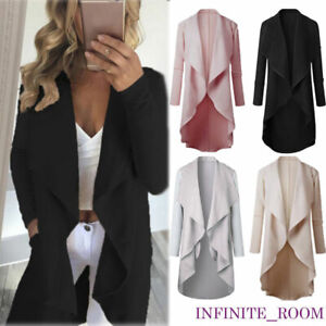Women-Ladies-Long-Sleeve-Waterfall-Cardigan-Trench-Long-Coat-Duster-Jacket-UK