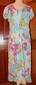 Jams-World-Women-039-s-Long-Maxi-Dress-Hawaiian-Floral-Blue-Size-Small-Short-Sleeve