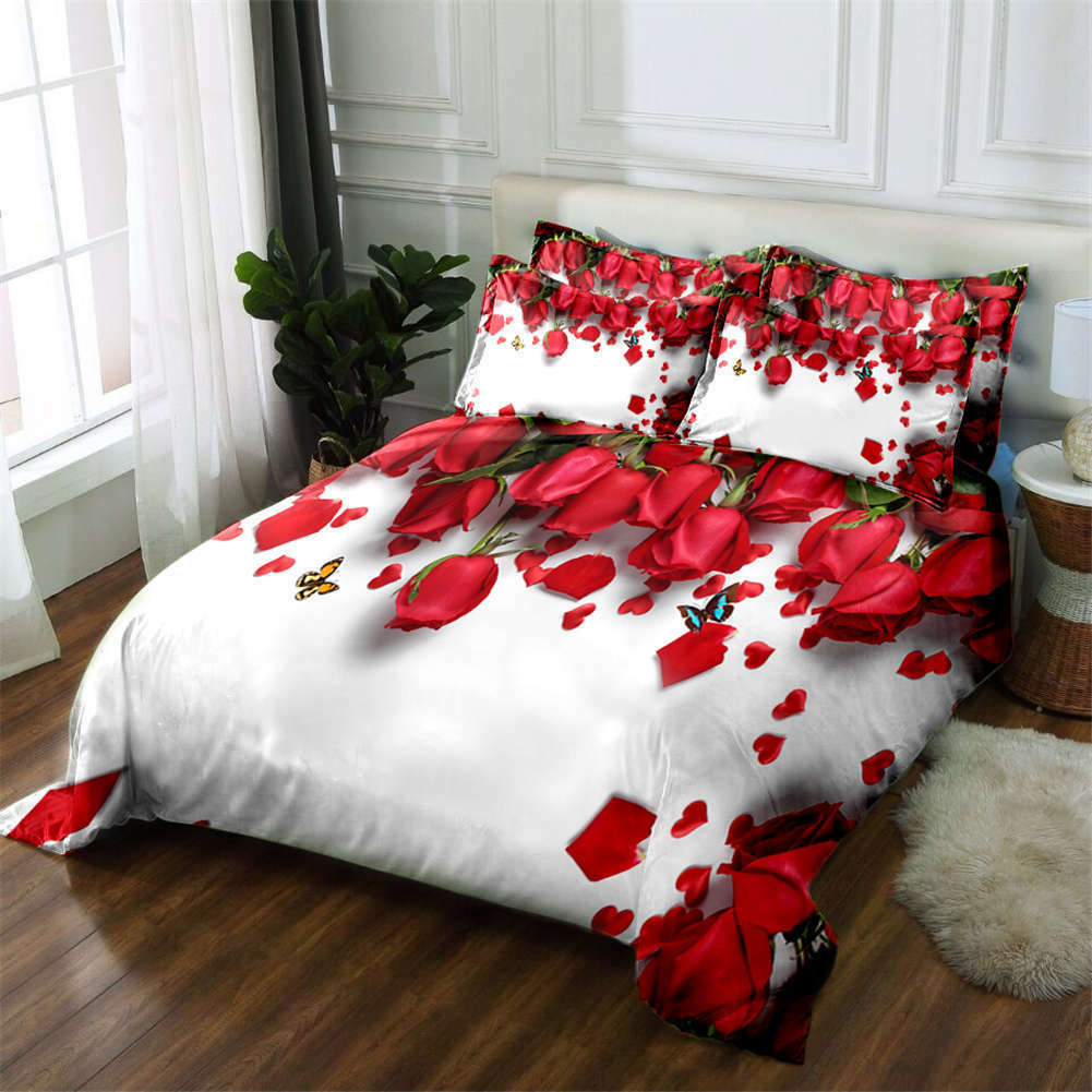 Petals Raining Day 3D Printing Duvet Quilt Doona Covers Pillow Case Bedding Sets