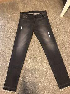 Flying-Monkey-Women-039-s-Skinny-Black-Distressed-Stretch-Jean-USA-Size-28