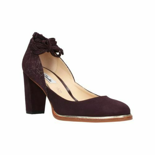Clarks Ellis Art Amethyst Suede Women's Heel shoes Size UK 4D