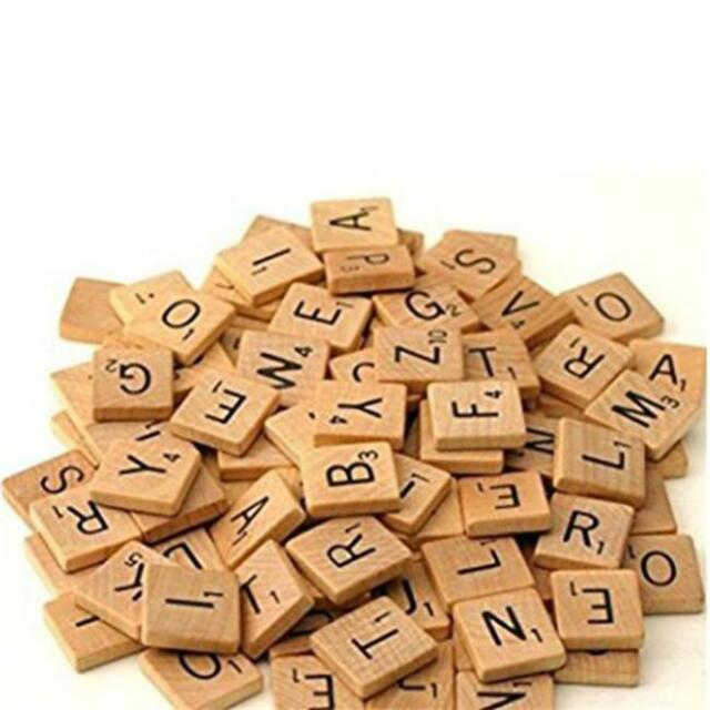 100x Mix Wooden Scrabble Tiles Letters Craft Alphabet Board Game Fun Toy Gift J