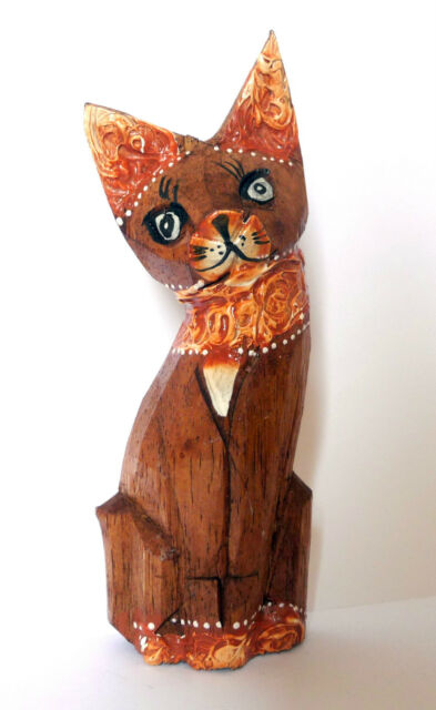 Wooden Brown Collar CAT Statue Hand Painted Bali Home Decor 14,5 cm