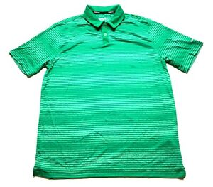 Nike-Golf-Mens-Green-Striped-Short-Sleeve-Polo-Shirt-Size-Large-Dri-Fit