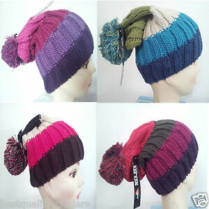 Long-Bobble-Beanie-Pom-Knitted-Ski-Hat-Men-Ladies-Winter-Warm-Woolly-Pom
