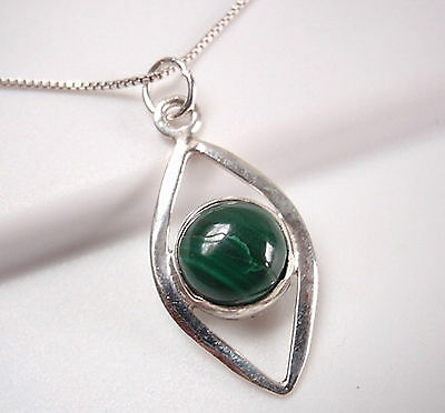 Malachite Necklace 925 Sterling Silver Sphere Inside Arcs New 653L