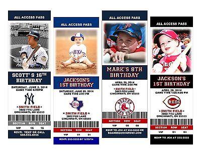 Baseball Ticket Custom Birthday Party Invitation