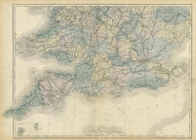 South Sheet Dependable England And Wales Sidney Hall 1856 Old Antique Map Railways