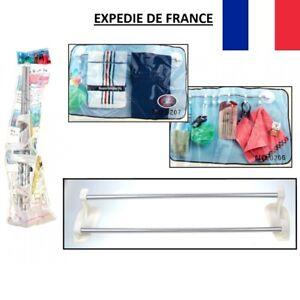 Porte Serviette Mural Adhésif Double 2 Bras Cintre Plastique 40 cm