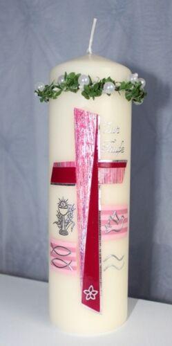 Tropfschutz mit PERLEN in WEISS Kerzenrock Kerzentuch Taufkerze Kommunion Neu