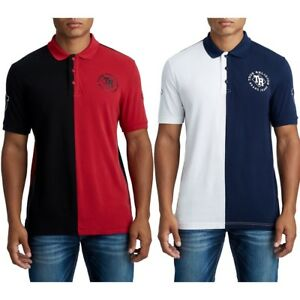 True-Religion-Men-039-s-Split-Panel-Half-Polo-Shirt