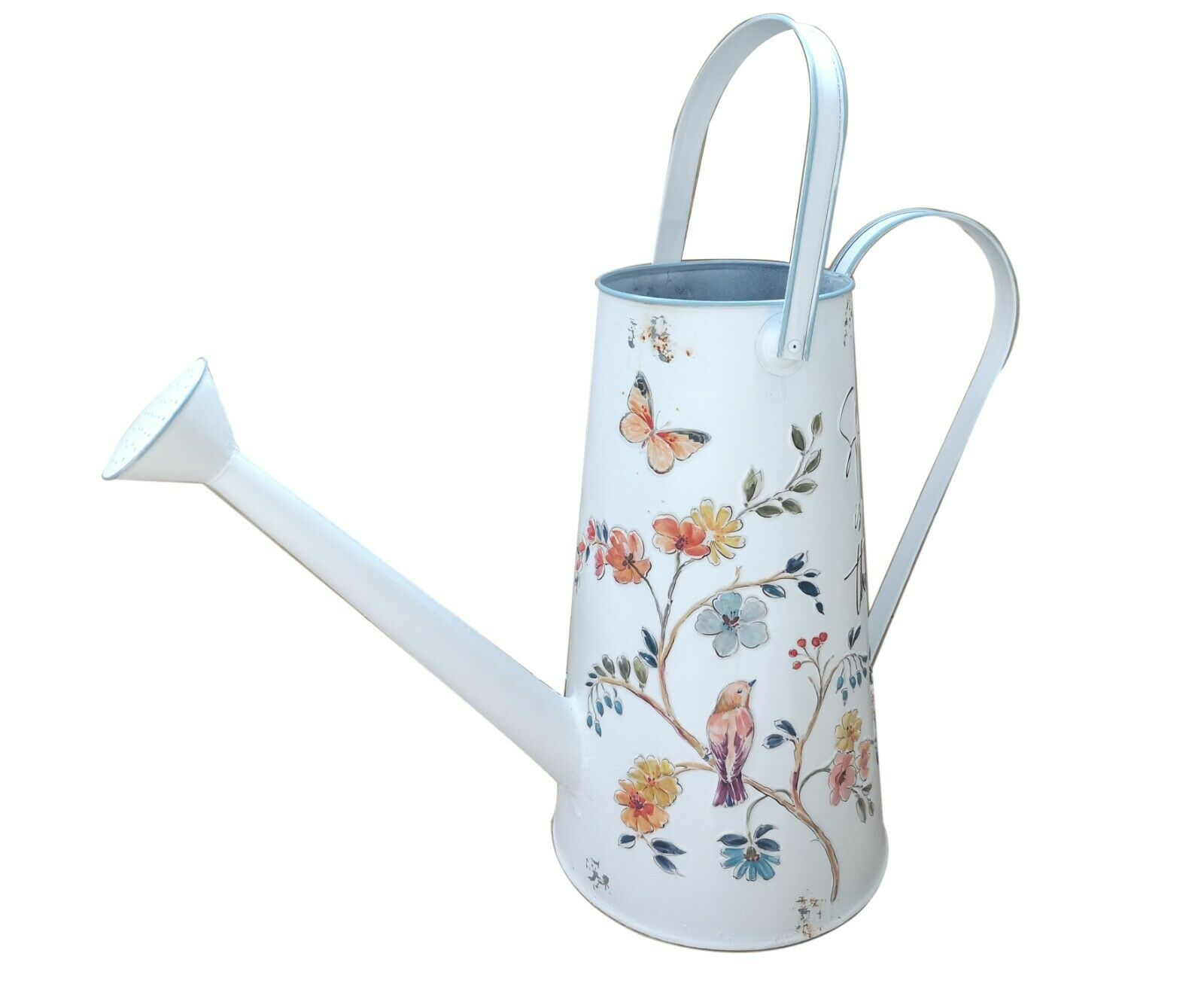 All Chic Tall White Watering Can Flowers Bird Nature Planter Shabby Chic