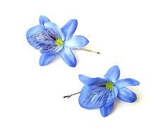 2 x Blue Orchid Flower Hair Grips Clips Bridesmaid Bobby Pins Slides Boho 2128