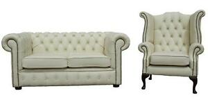 Chesterfield-2-Seater-Wing-Chair-Premium-Cream-Leather-Sofa-Settee-Suite