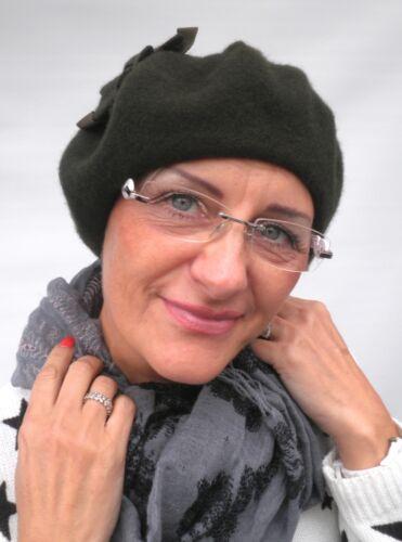 Baskenmütze Damen Mütze McBurn Applikation Damenhüte Wolle Farbauswahl Herbst