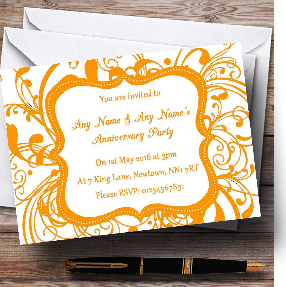 bianca & arancia Swirl DECO personalizzata anniversario partito inviti inviti inviti b1d4fc