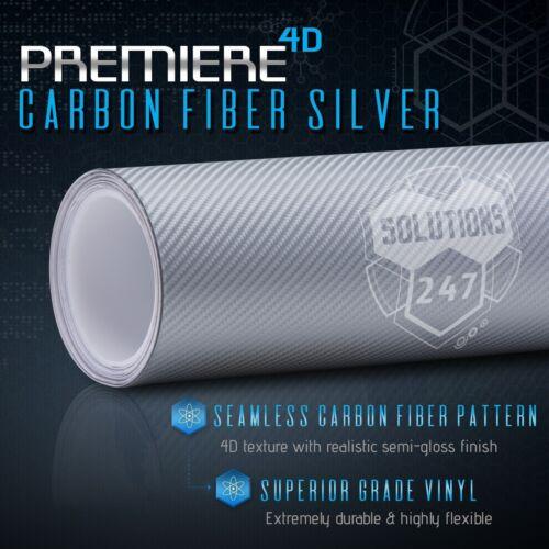 "60/""x72/"" In Vinyl Wrap Bubble Free Air Release 4D Silver Carbon Fiber Gloss"