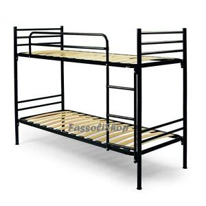 lit superpos noir 2 places en fer sommiers lattes en bois 80x190 code noir ebay. Black Bedroom Furniture Sets. Home Design Ideas