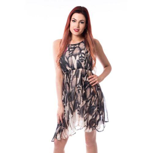 Innocent Lifestyle Feather Riot Dress Ladies Brown Goth Emo Punk