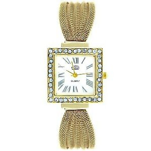Cussi-Women-039-s-Diamond-Square-Frame-Gold-Stainless-Steel-Strap-Watch