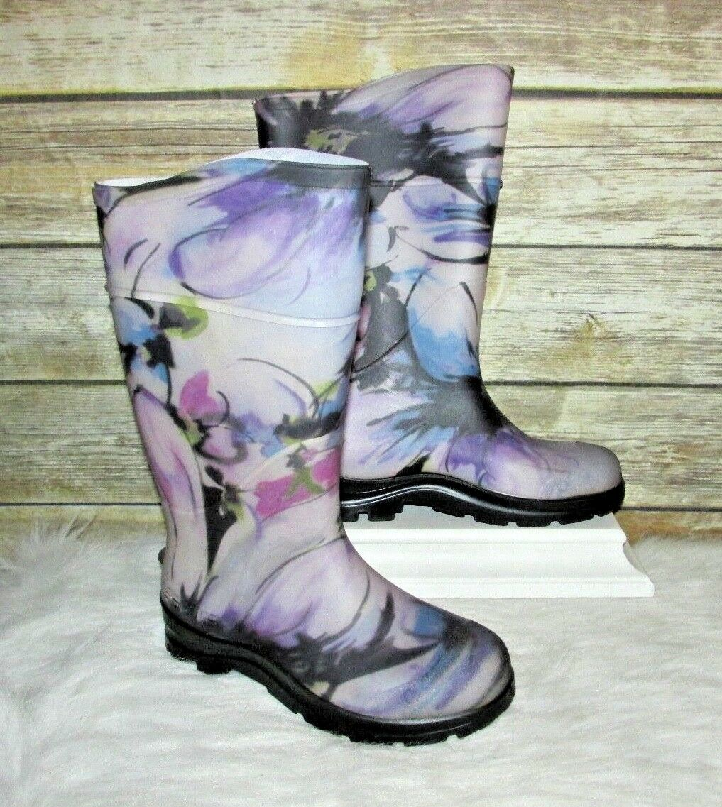 Servus Electra Purple Floral Print Rubber Sz 6 Mid Calf Rain Boots USA Made