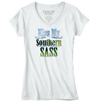 Kiss My Southern Sass Cute Country Girl Sassy Dixie Gift Ideas Junior V-neck Tee