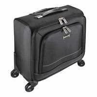 16 Laptop Computer Trolley Business Luggage Case Bag With 4 Wheels - Black