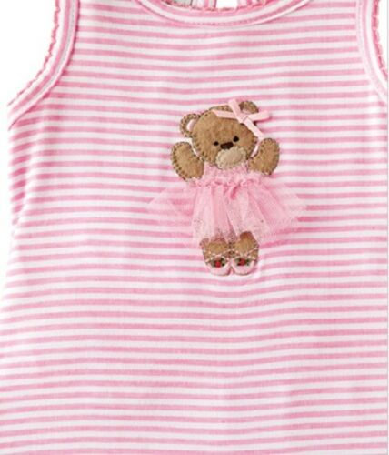 SALE Infant Size 6-9 Months Pink /& White Striped Romper with Bear Ballerina NWT