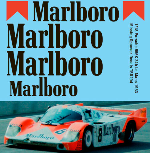1//18 Porsche 956 24h Le Mans 1983 Missing Sponsor Decals Decal TBD294