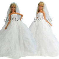 Handmade White Wedding Gown Clothes Dress + Veil With Crown For Barbie Doll Gift