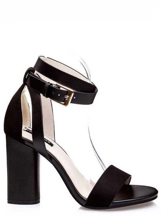 Sandales carré élégant 9.5 cm noir chaussons comme cuir élégant 8938
