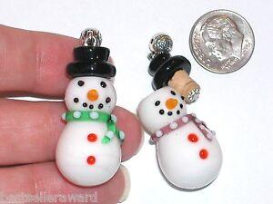 1 Glas Weihnachten Schneemann Öl Parfüm Zaubertrank Kork Kleine Lampwork Flasche