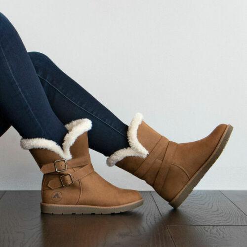 Airwalk Women/'s Nia Faux Fur Cognac Faux Suede Cozy Boots Size 8 Medium