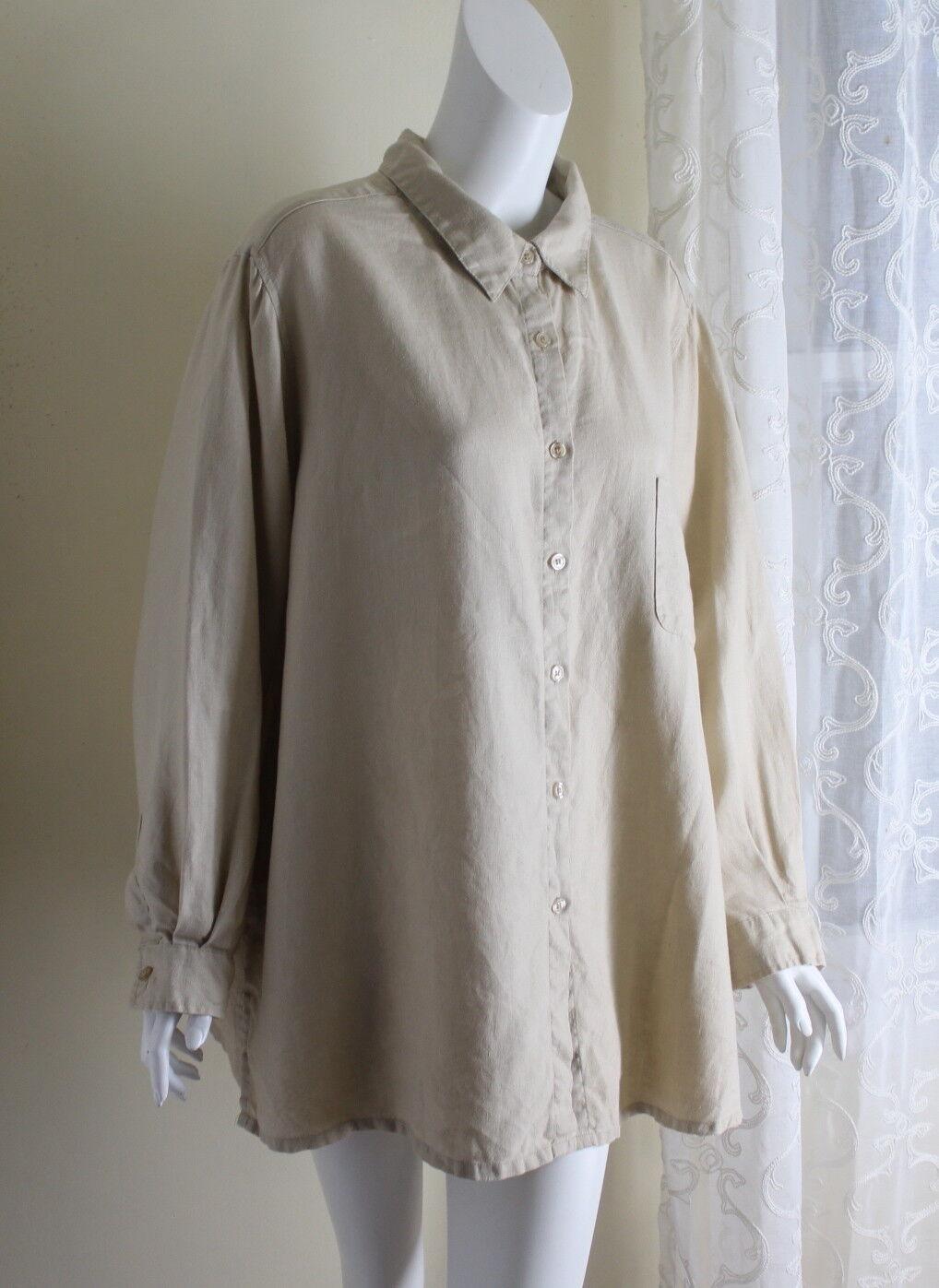 BRIDGEWATER -Sz 2X 100% Linen Natural Wheat Lagenlook Tunic Breezy Shirt Jacket