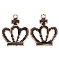 100pcs Fashion Gold Plated Black Enamel Crown Charms Alloy Pendants Findings L