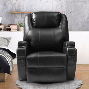 Details about Black Massage Recliner Sofa Leather Vibrating Chair W/ Cup  Holder