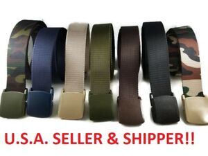 Mens-Military-Grade-Tactical-Belt-Webbing-Nylon-Strap-Casual-Plastic-Buckle