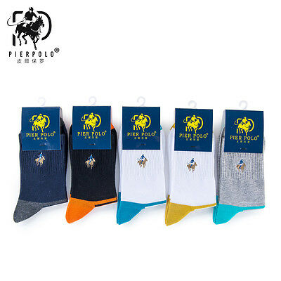 5 Pairs Men's Business Pier Polo Stripe Casual Quarter Combed Cotton Dress Socks