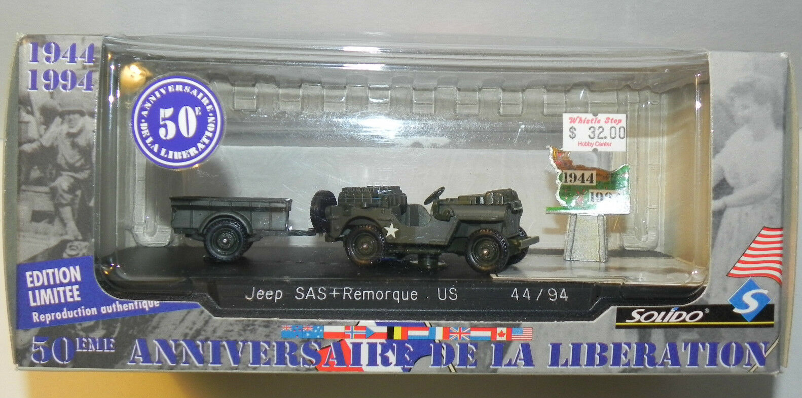Solido uns  1 43 jeep sas + remorque uns Solido 50. anniv - befreiung frankreichs - 1994 9dea34