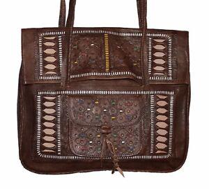 Moroccan-Leather-Shoulder-Bag-Handbag-Purse-Carved-Tooled-Strap-Design-Brown