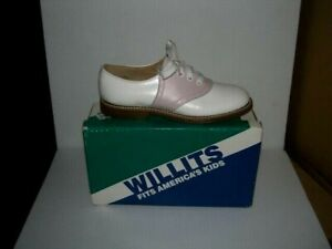 PINK-and-White-Willit-039-s-Leather-Saddle-Shoes-youth-sizes-12-5-4-NOS-made-in-USA