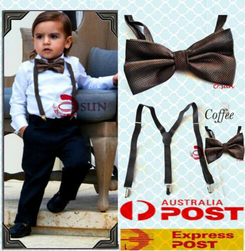 BOYS Girl KIDS COFFEE Braces Elastic Suspenders Bowtie Bow Tie 1-8 Years Old